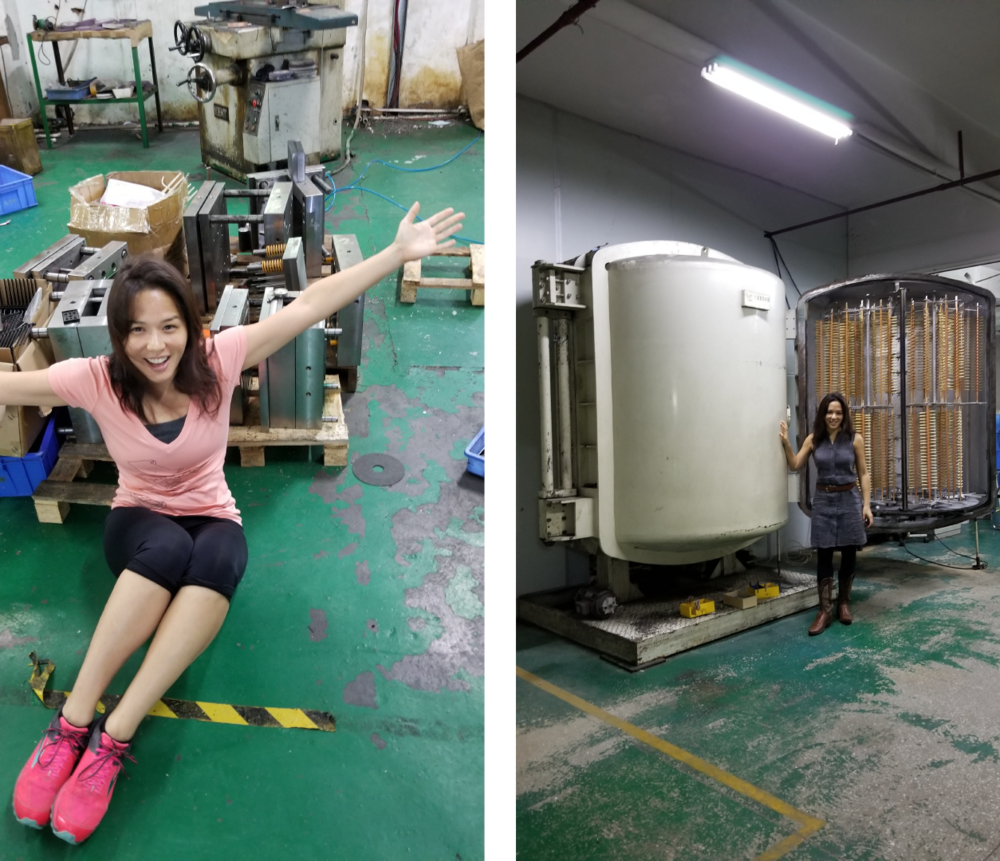 Left: The gang's all here! Happy family of Renzoe Box molds and René! Right: This is a giant vacuum and curing oven for metalized parts or the Renzoe Box. The gold edging is possible because of this process.