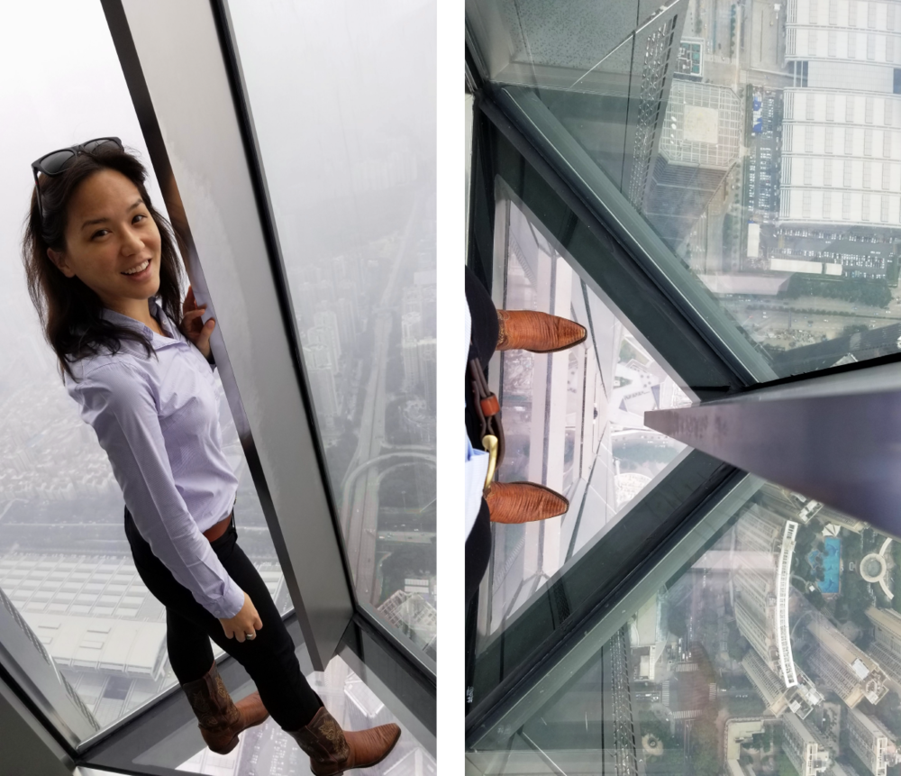 Ping An Finance Center. At 116-stories its the 4th tallest building in the world, and tallest building in Shenzhen. Look at that drop below! Note René in her Lucchese cowboy boots. She takes her Texas roots to China!