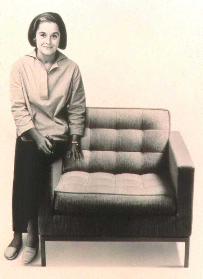 Florence Knoll with a lounge chair of her own design
