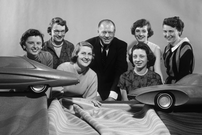 """Six of GM's """"Damsels of Design"""" who worked on automotive interiors, photographed circa 1955. From left: Suzanne Vanderbilt, Ruth Glennie, Marjorie Ford Pohlman, Harley Earl, Jeanette Linder, Sandra Longyear and Peggy Sauer. All images courtesy General Motors Design Archive & Special Collections"""