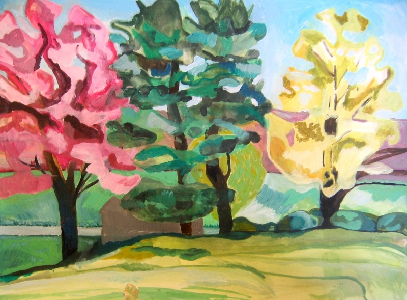 """Three trees on the farm in spring"" LV"