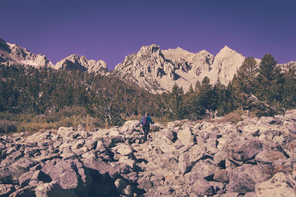 Danielle trekking along
