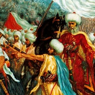 Battle of Anjar on 1 November 1623l. Emir Fakhreddine II (right) and the Ma'anite flag (left).