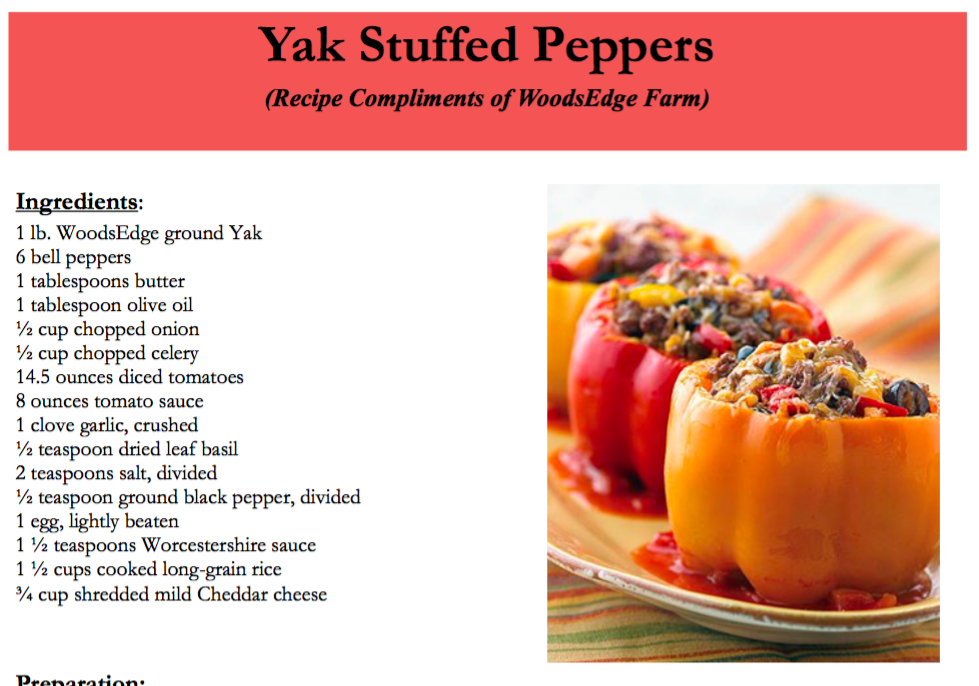Yak Stuffed Peppers
