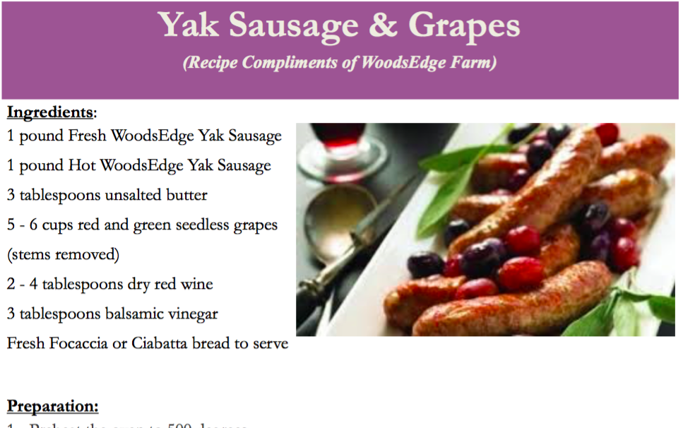 Yak Sausage & Grapes