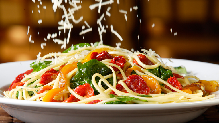 Spaghetti Pasta with Vegetable and Parmesan Cheese