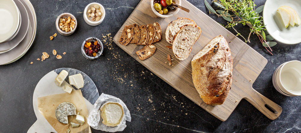 Overhead Bread Board Brunch Spread