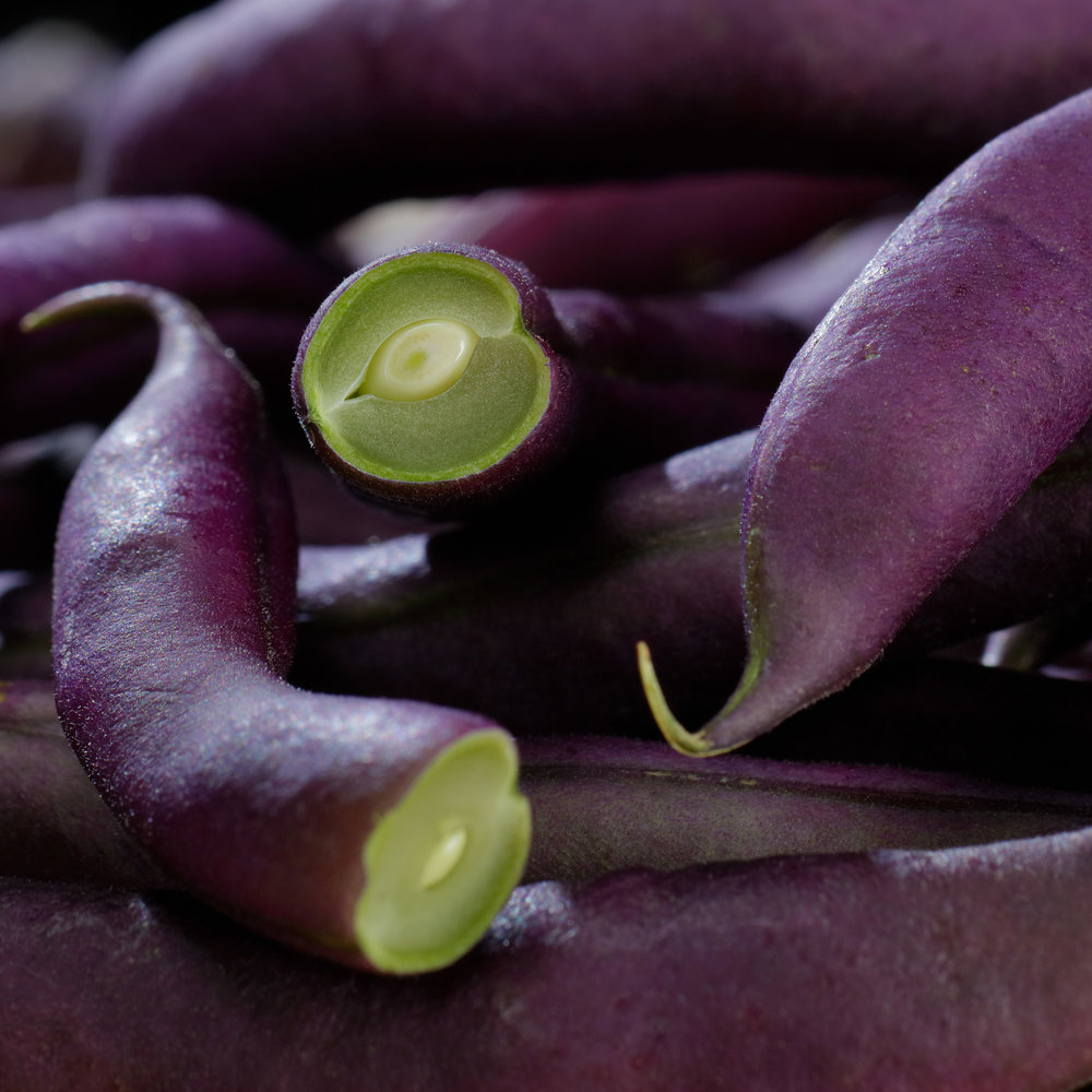 Close-up Purple Green Beans