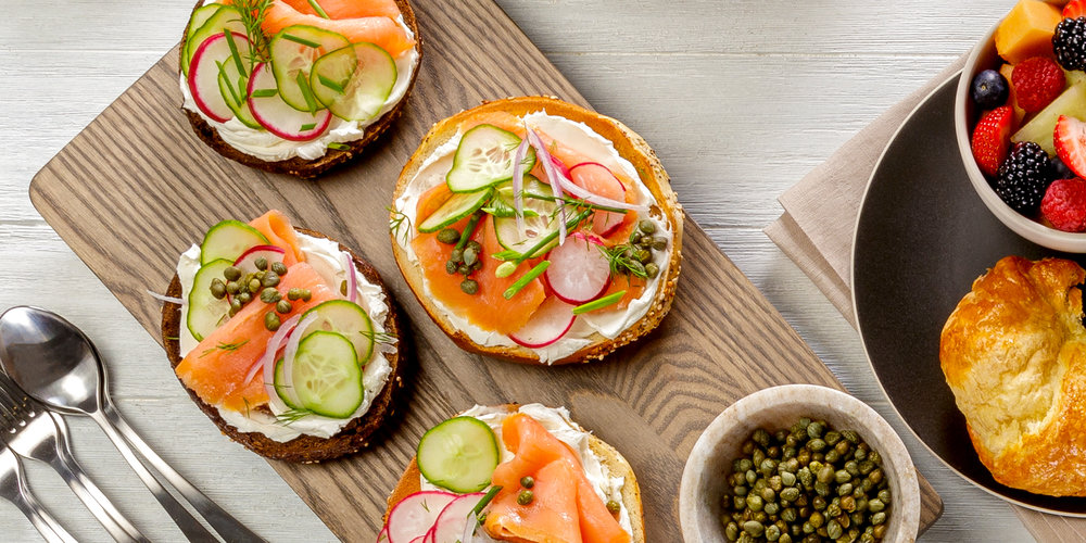 Overhead simple food spread - Bagels, Lox and Breakfast