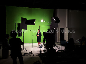 Actress in front of green screen for TV Commercial