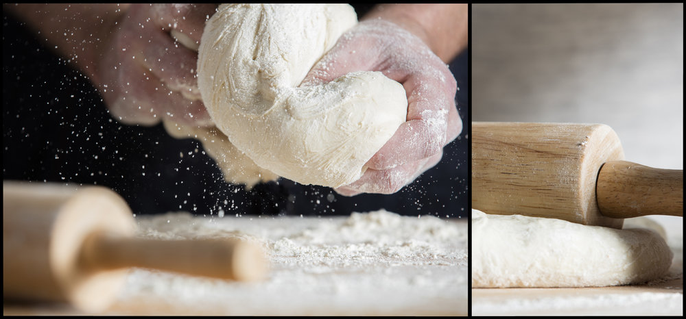 Rolling Pin with Flour and Dough