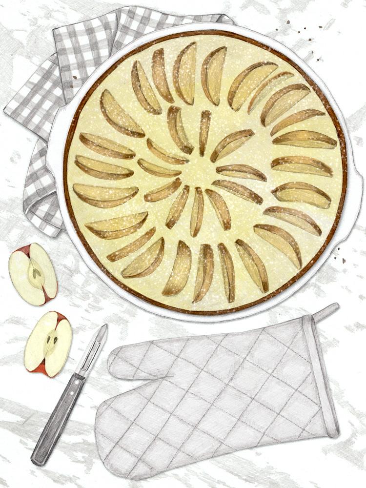 Französische Apfeltorte. Apfelkuchen mit Eierguss. Deutscher Foodblog