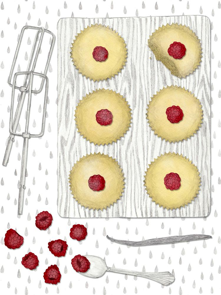 Schnelle Muffins, schnelle Nachspeise. Foodblog. 20 Minuten Vanille-Himbeere-Muffins