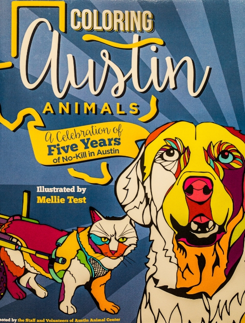 Coloring Austin Animals. All proceedings of the sells of the book go to help the homeless animals at the Austin Animal Center. You can buy the book  here  or directly at the Austin Animal Center.