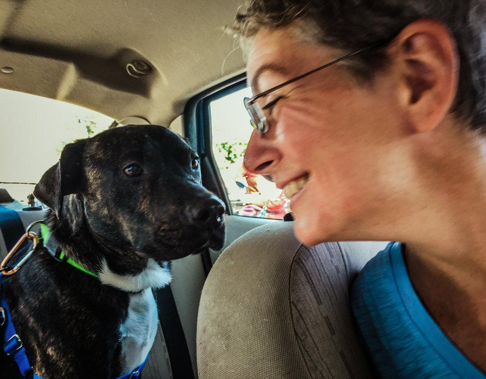 Eileen McFall and Smokey ready to start their road trip to California.