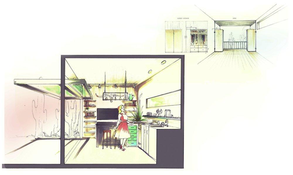 [L to R} First Floor Kitchen and Living Area; Second Floor Bedroom Wardrobe/Industrial Door Feature
