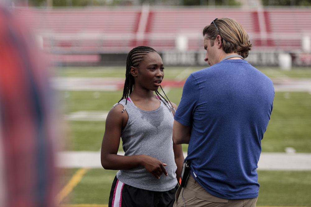 Director, Philip S. Plowden works with Mariah Gordon (YOUNG MEL).