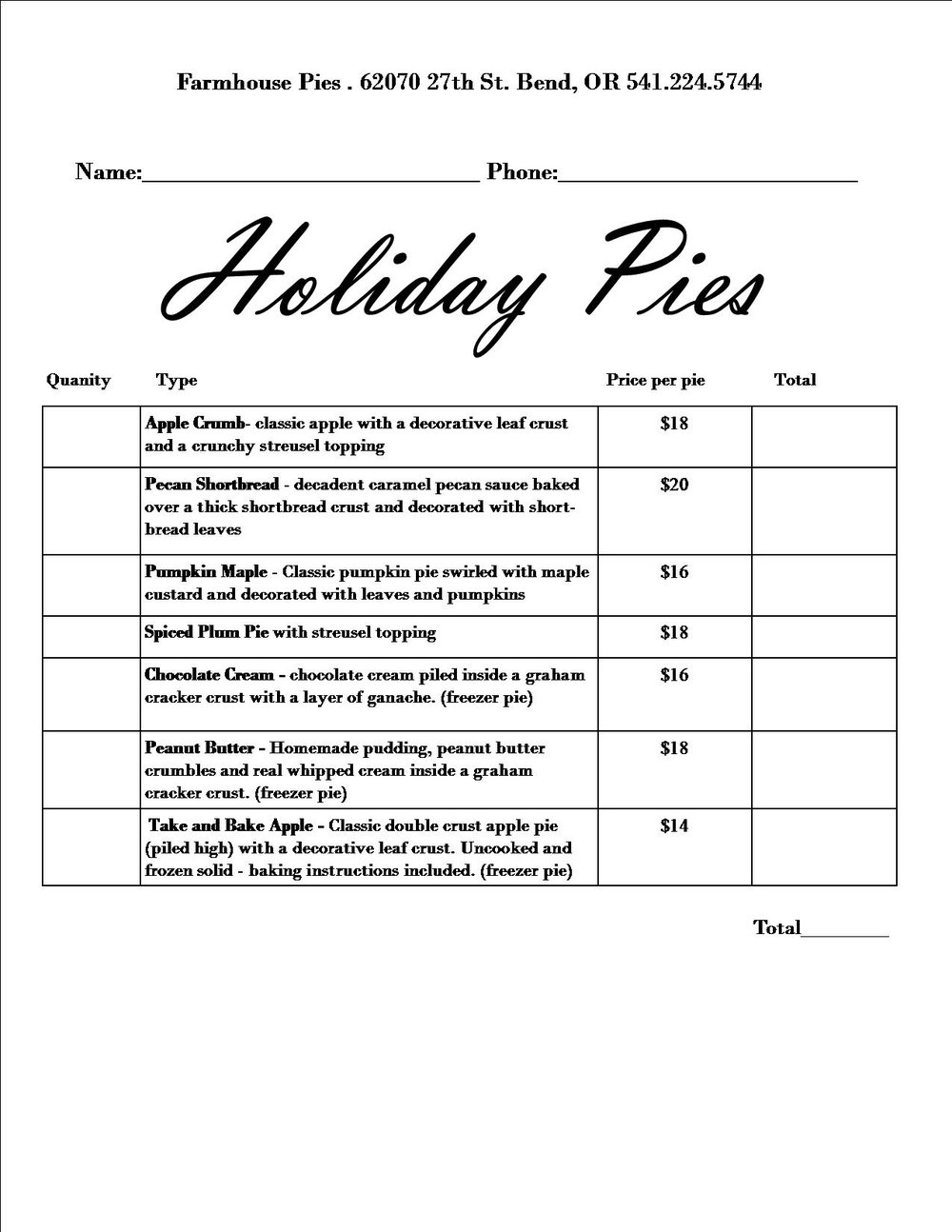 Holiday Pie Order Form Farmhouse Pies