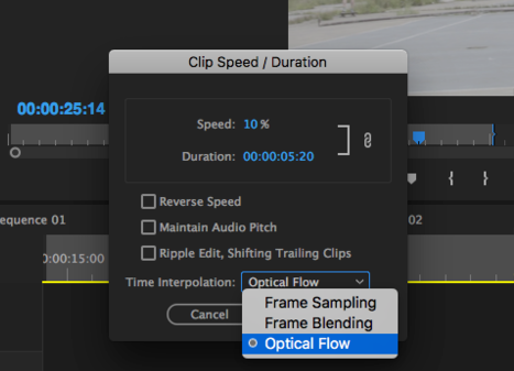 'Optical Flow' is a feature that allows you to create smooth super slow motion shots. With 120fps video, 25% is the lowest speed percentage you could use before it gets choppy, but with 'Optical Flow,' I can bring it down to 10% without the choppiness.