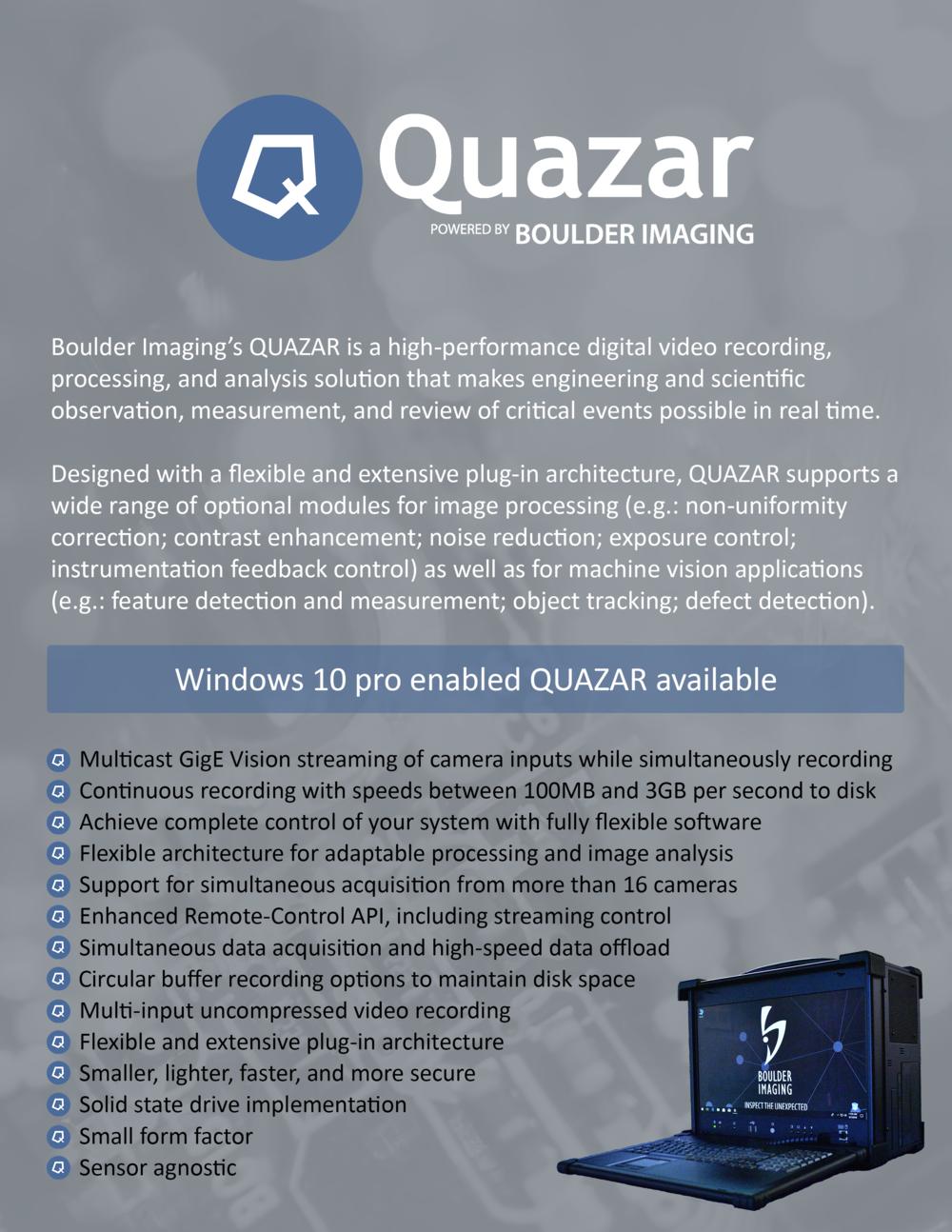 QUAZAR Technical Specifications