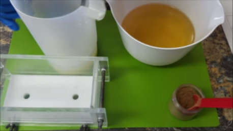 Prepare mold, measure lye solution, oils and gather additives.