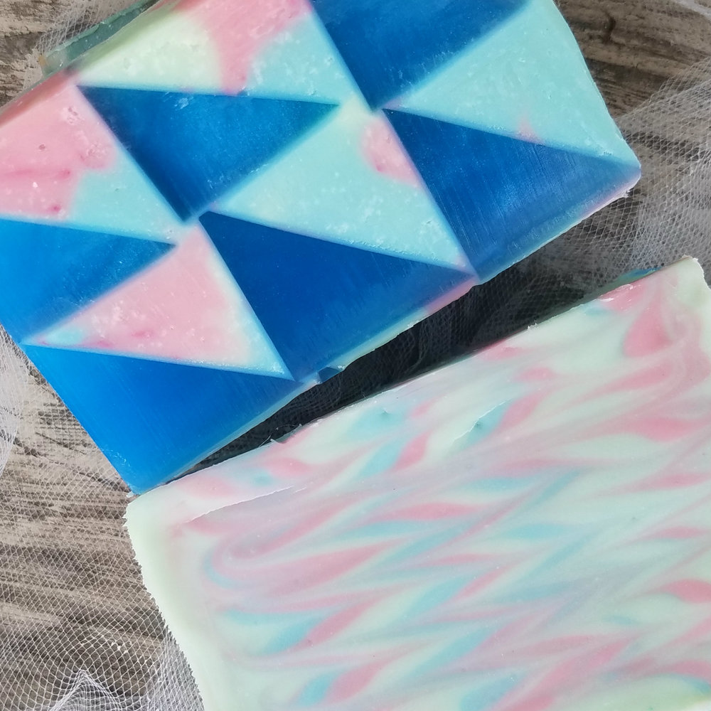 """And here is the """"top and bottom"""" of my denim quilt soap!"""