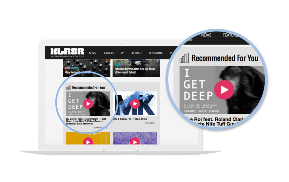A screenshot of Tuff Guy's remix of 'I Get Deep being promoted on XLR8R — a top underground music site.