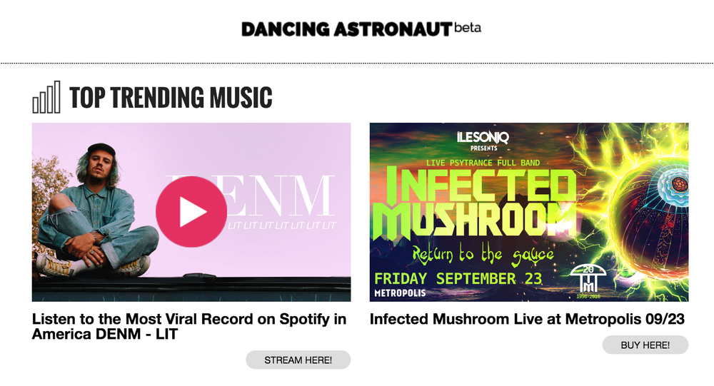 The ad unit for Wavo Boost appearing on top publisher, Dancing Astronaut