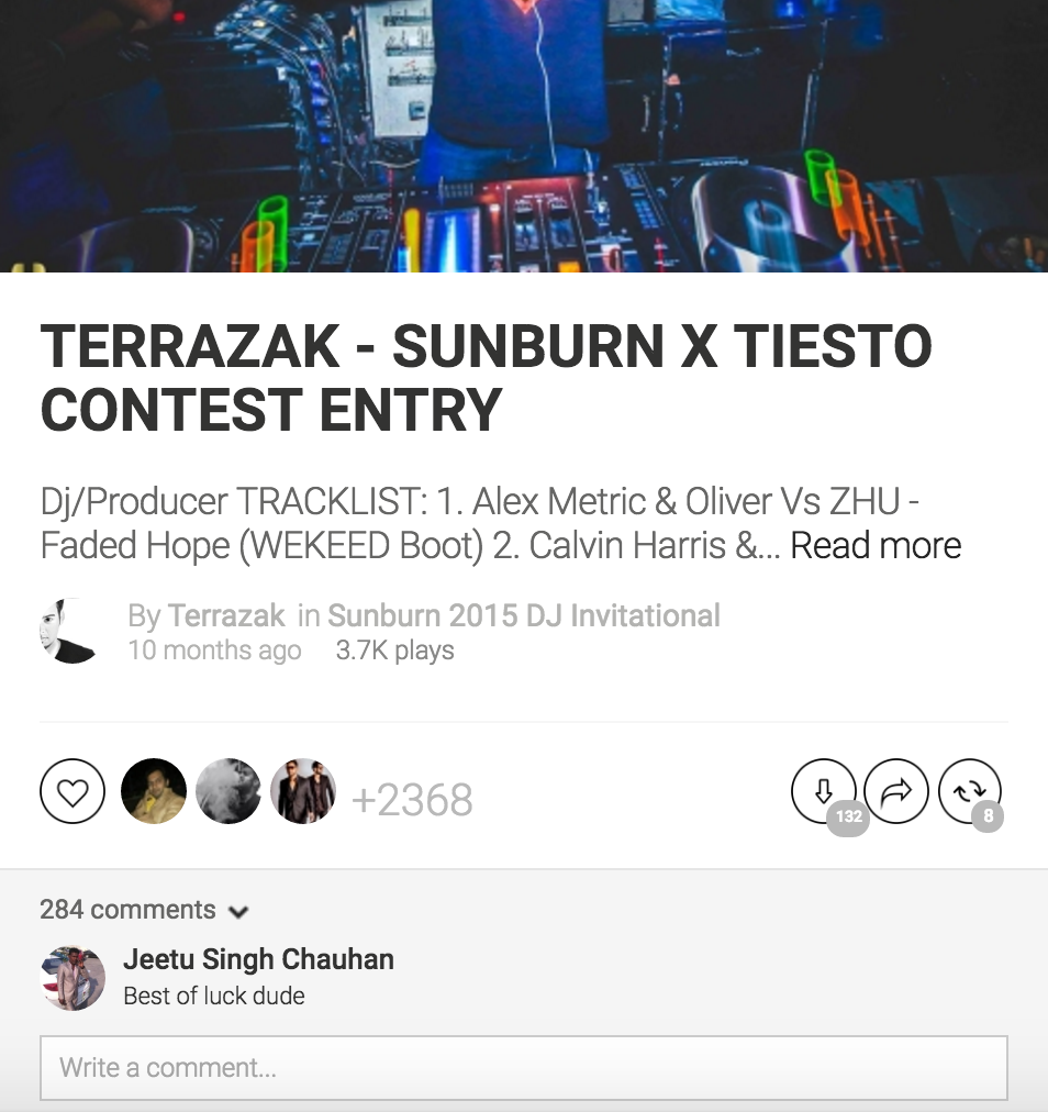 The top voted entry in the 2015 Sunburn DJ Invitational received 3.7K plays, 2.3K votes, and 284 user comments