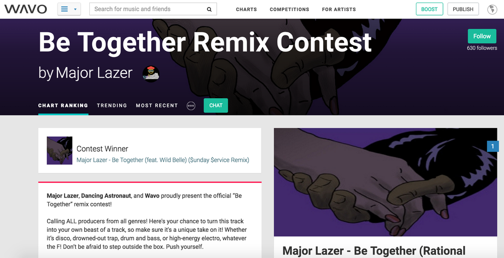 "The page for the ""Be Together"" remix competition as it appeared on Wavo.me"