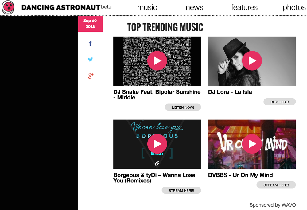 The Wavo Boost ad unit as it appears on Dancing Astronaut
