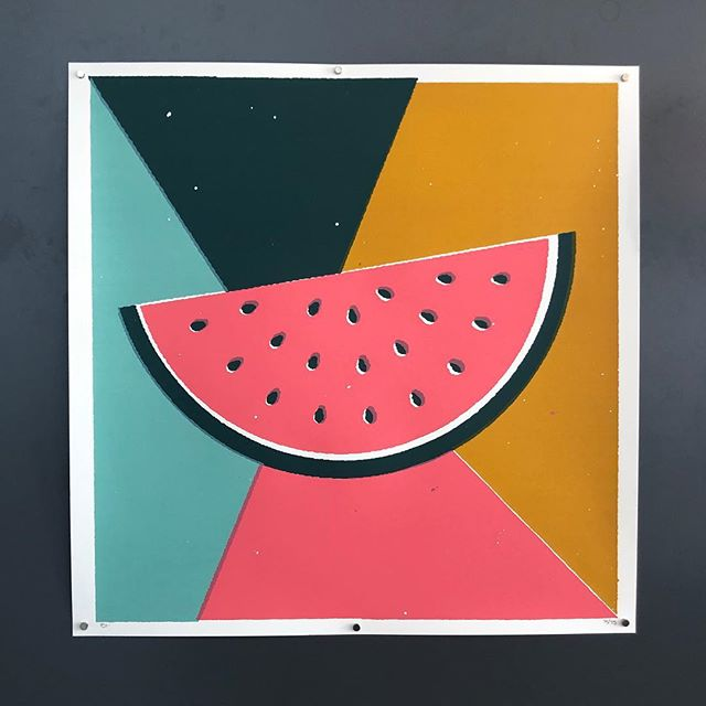 """Sandia""- 24""x24"" 4-color screen print. A few of these left in the shop! Tap to purchase or see the link in bio to check out the complete series. #screenprint"
