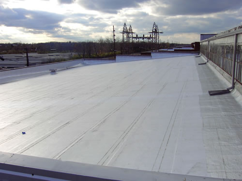 Low-slope industrial roofing applications are ideal for Peel & Seal, such as this factory roof.