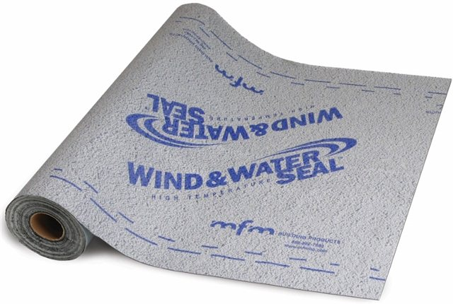 MFM Wind & Water Seal™ is a 40 mil, self-adhering underlayment for use under metal and tile roofing systems where high heat is generated.