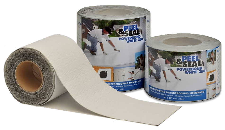 Peel & Seal® PowerBond™ White 250 comes packaged in labeled and shrink-wrapped rolls for retail display.