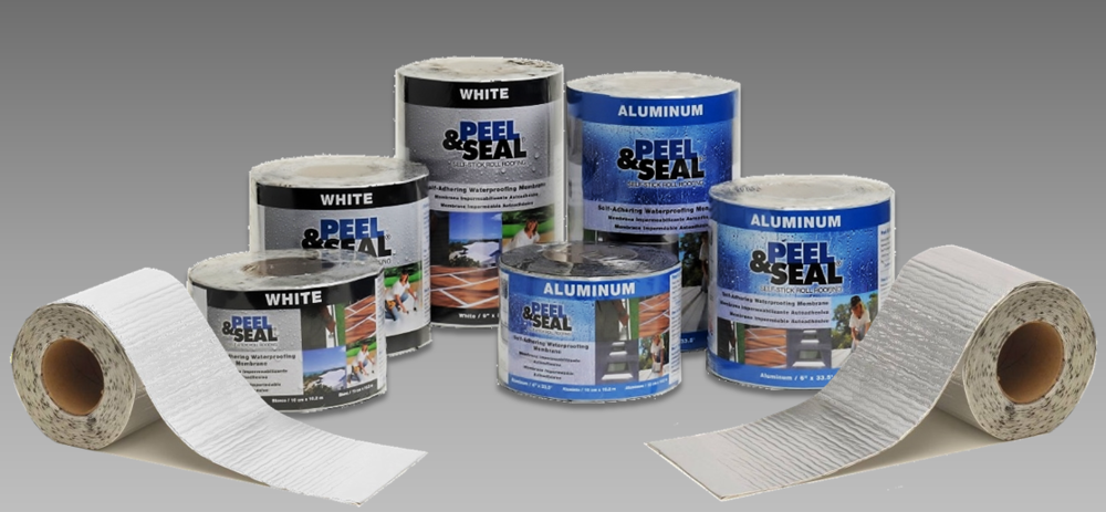 "Peel & Seal® Aluminum and White are available in retail packaged rolls. The sizes of these rolls are 4"", 6"" and 9"" x 33.5'."