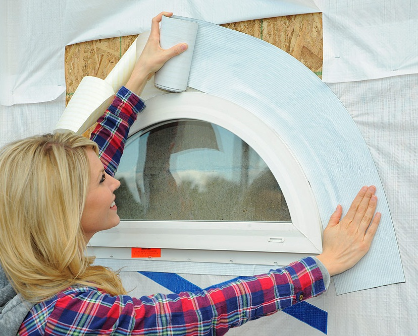 WindowWrap® Flex PowerBond™ stretches to conform to curved shapes to form a complete waterproof barrier.