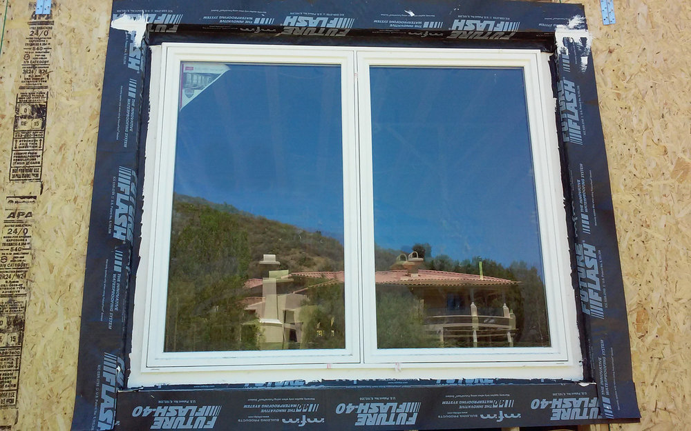 This window was flashed with the Moisture Diversion Method®, which is a patented installation method using FutureFlash® membranes and FutureFlash® Sealant.