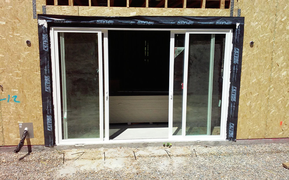 This patio door was flashed using FutureFlash® waterproofing membranes.