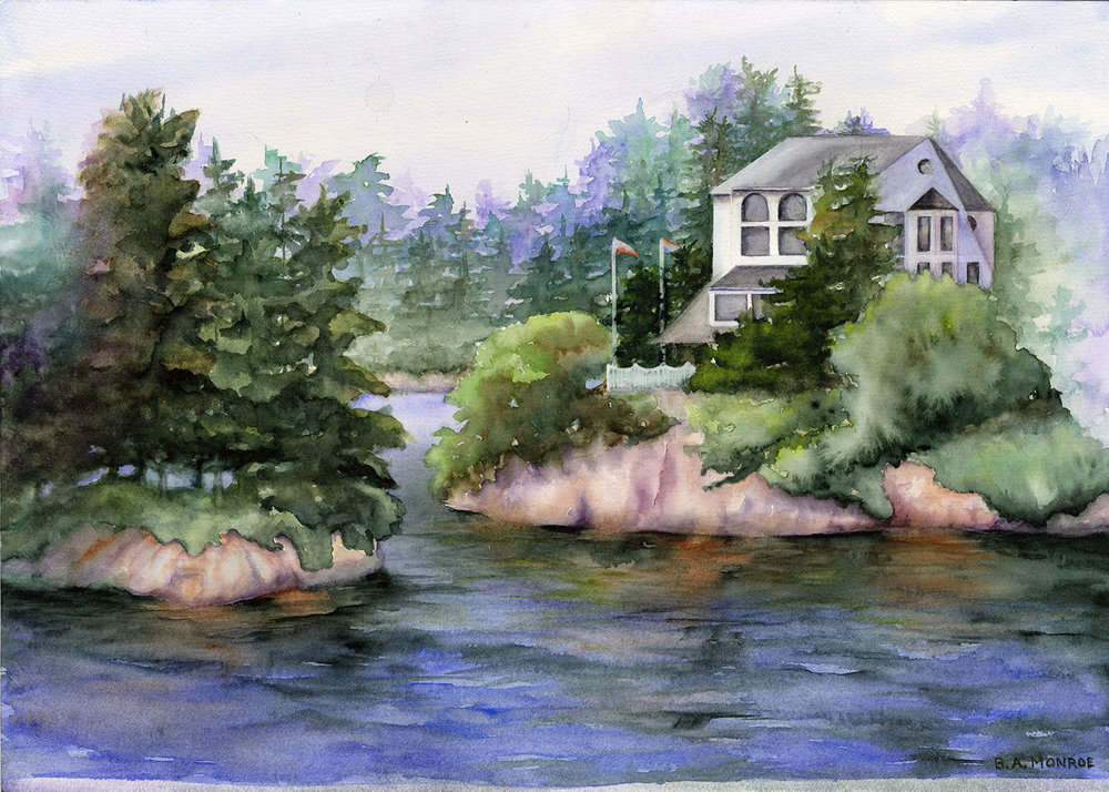 Thousand Island II, watercolor, Barbar Monroe