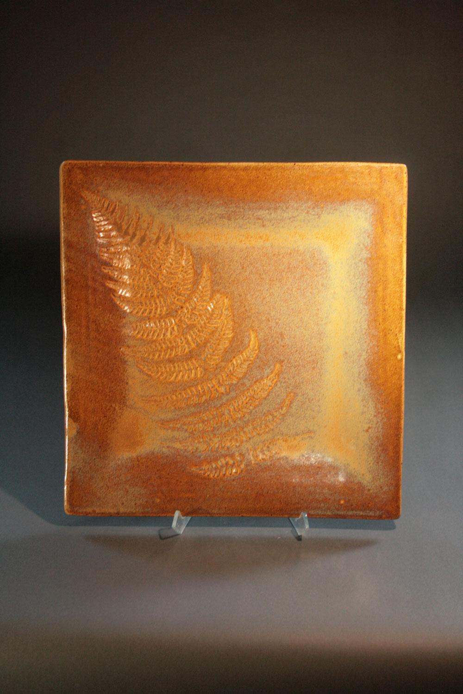 Fern square plate, clay, Chris Walton