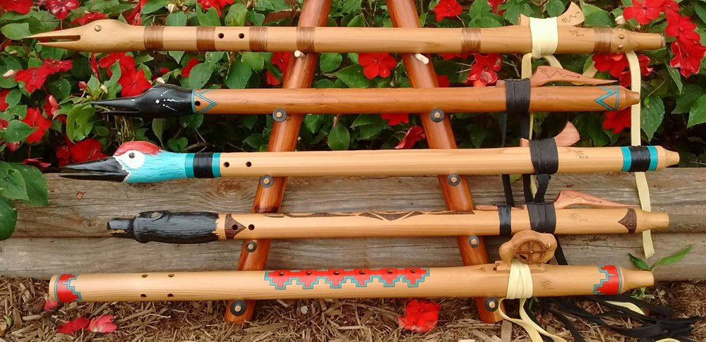 Traditional Native American Flutes By douglas Thunderhorse - Western Cedar Courting Flute, Loon Flute, Sandhill Crane Flute, Mato Sapa Western Cedar Bear Flute, and Tatanka Buffalo Courting Flute