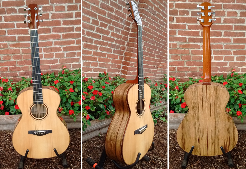 Handcrafted guitar by Thomas Roeger of Bloomington, IN Top:  Adirondack Spruce, Back/Sides:  Black Limba,  Neck:  Mahogany, Fretboard:  Ebony Regular Price = $2000 , 10% off this weekend only!