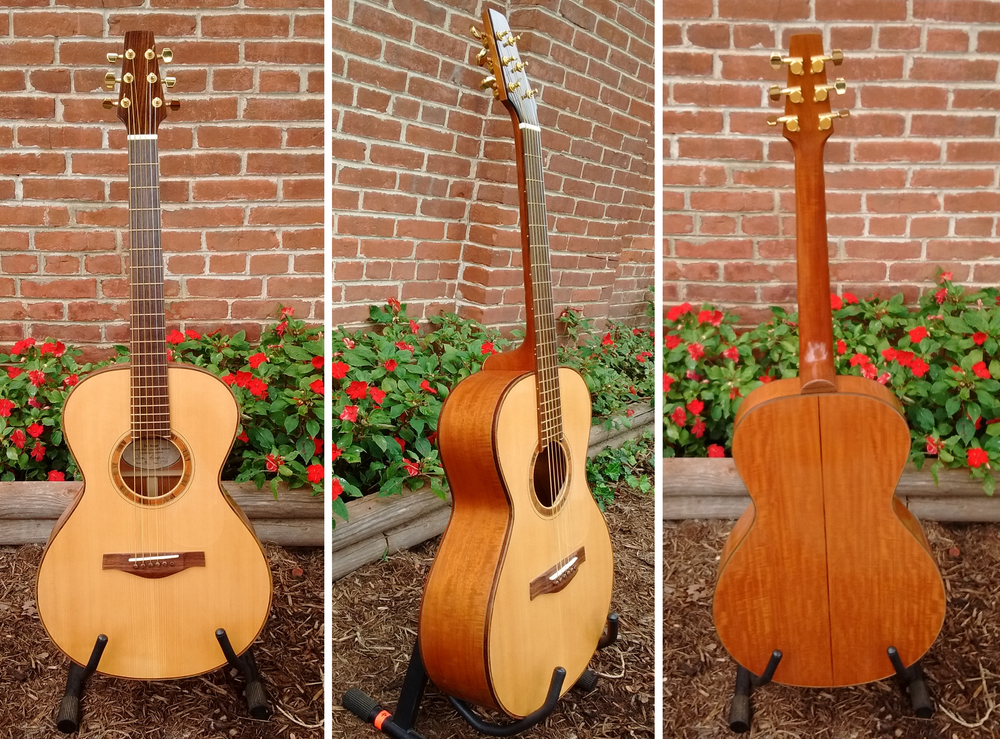 Handcrafted guitar by Thomas Roeger of Bloomington, IN Top:  Adirondack Spruce, Back/Sides:  Figured Mahogany, Fretboard/Bridge:  East Indian Rosewood Regular Price = $1999 , 10% off this weekend only!