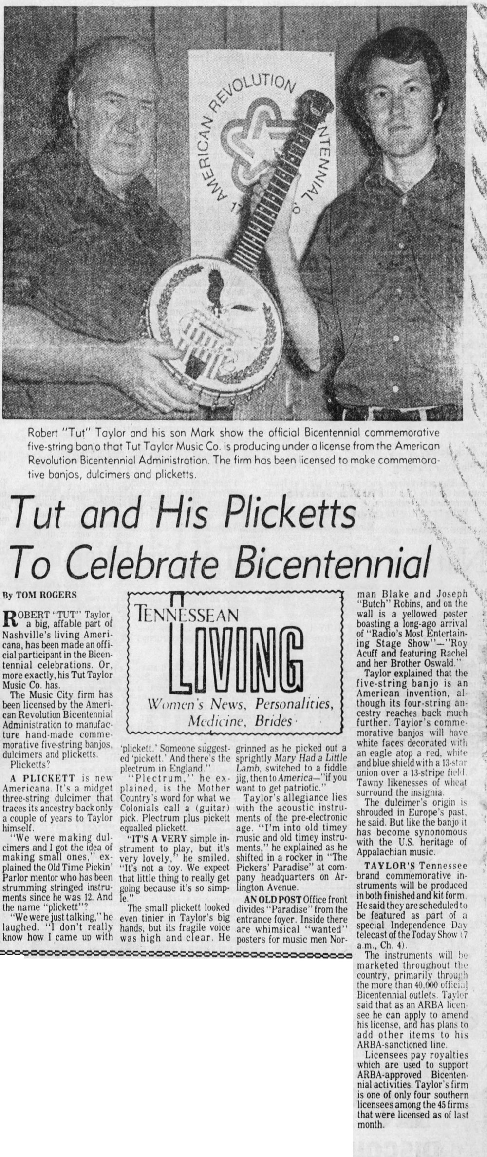 "Newspaper article published in ""the Tennesseean"" in nashville, Tennessee - July 4, 1975"