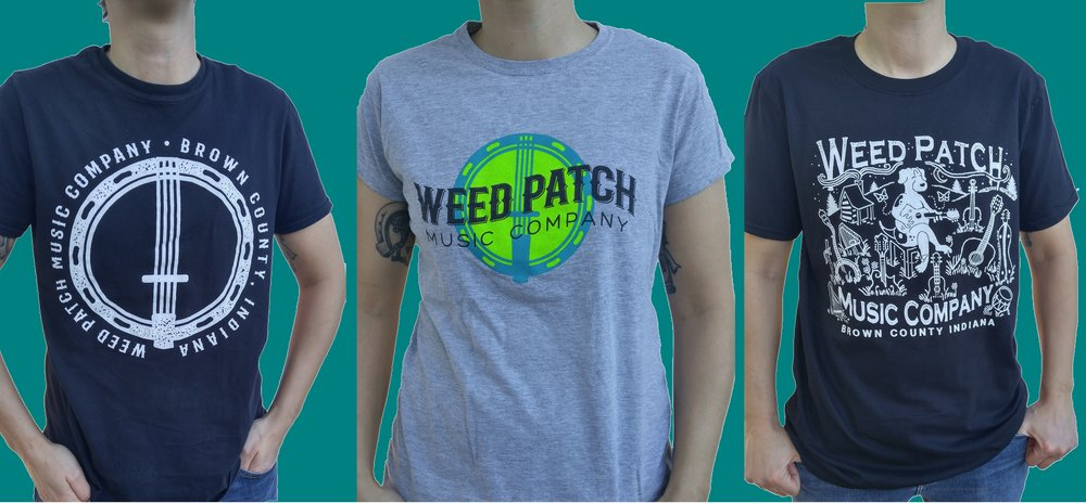 Tshirts shown left to right:  Black Logo = $12, Grey Logo = $12, Original Weed Patch Bluegrass Beagle Shirt = $15