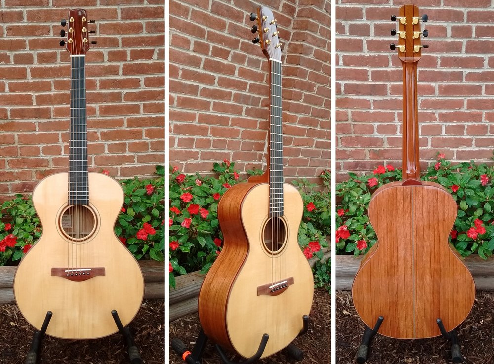 HANDCRAFTED GUITAR BY THOMAS ROEGER OF BLOOMINGTON, IN   TOP:  ADIRONDACK SPRUCE, BACK/SIDES:  RED ZEBRA,  NECK:  MAHOGANY, BRIDGE/TRIM:  BLOODWOOD, FRETBOARD:  EBONY  REGULAR PRICE = $2100 , 10% OFF THIS WEEKEND ONLY!