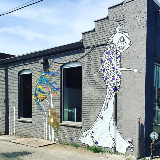 We commissioned @girlthegreat to add on to her mural at the Arthel Building. . . . . . #publicart #arthel #arthelbuilding #crossroadskc