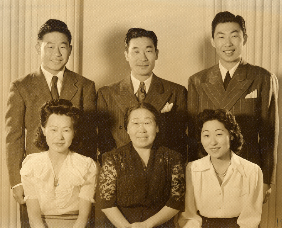 The Ahn Family:  Soorah, Helen, and Susan   (below); Ralph, Philip, and Philson   (above) in Los Angeles 1941