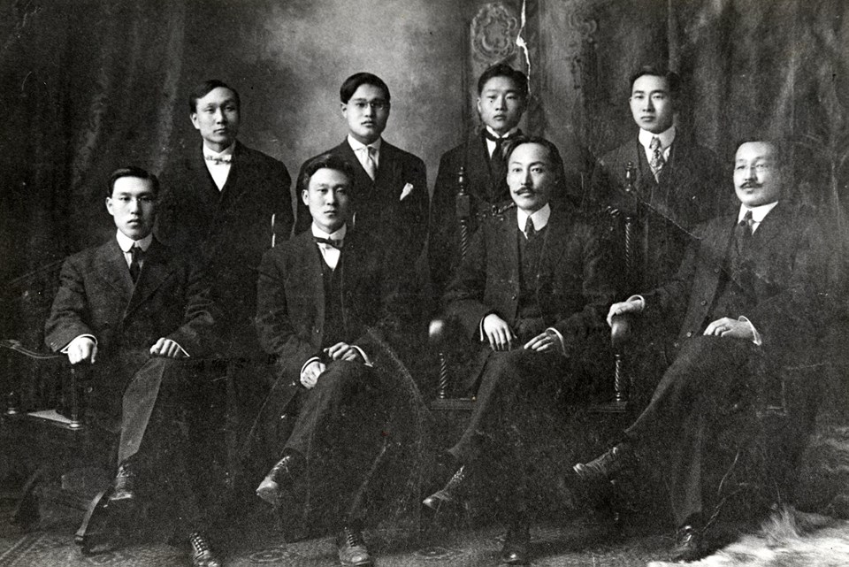 Below (left to right): Hwang Sa Young, Chong Jae Kwan, Yi Sang Sol, and Choi Jong Ik   Above (left to right): Min Chan Ho, unidentified, Kim Jong Nim, and Song Jong Ik